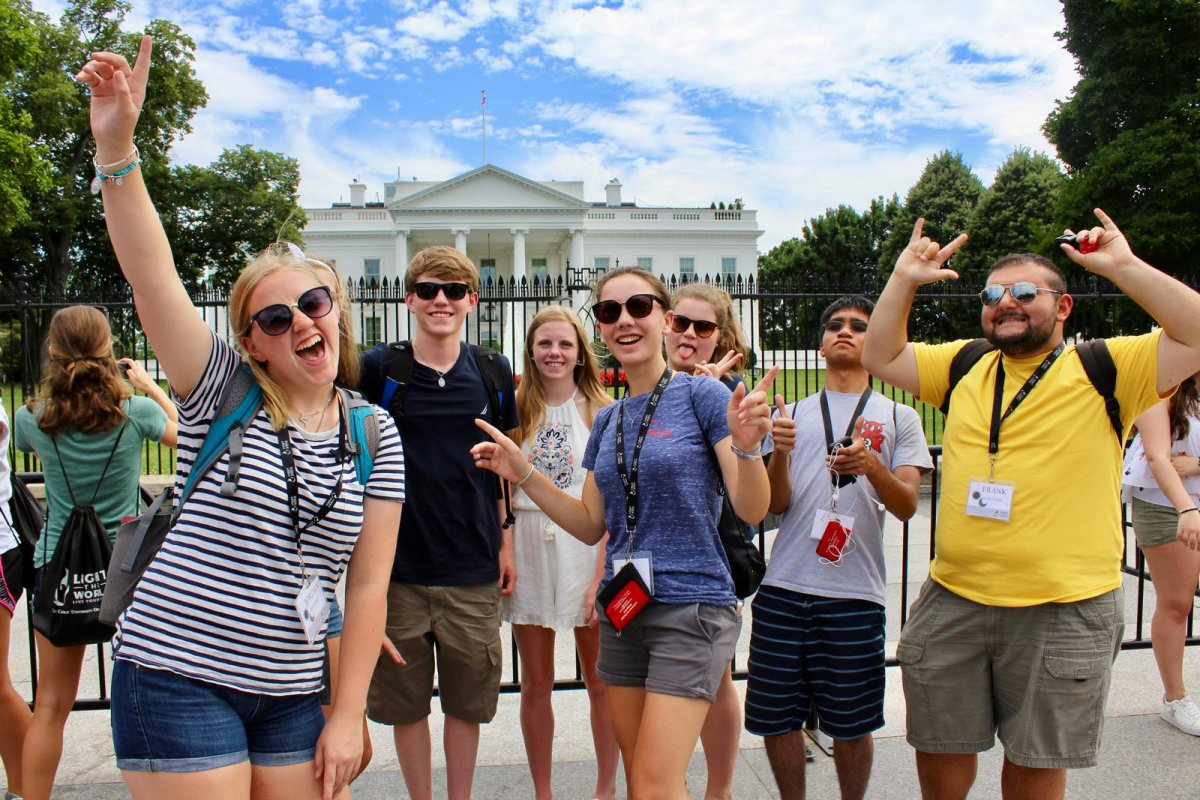 Students in front of the White House